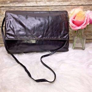 Vntg Charles Jourdan Paris Black Leather Bag Purse
